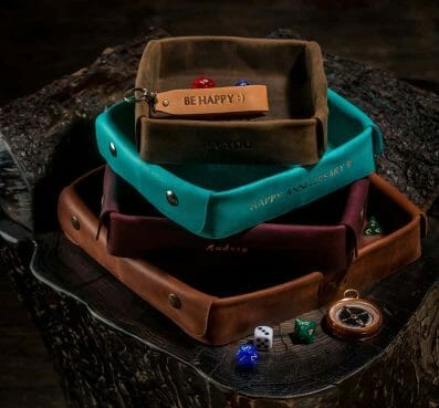 Custom Dice Trays for RPGS - custom dice tray for dnd - dungeons and dragons - custom dice rolling tray - customized dice trays - personalized custom dice trays for tabletop games and board gamers - valet leather tray
