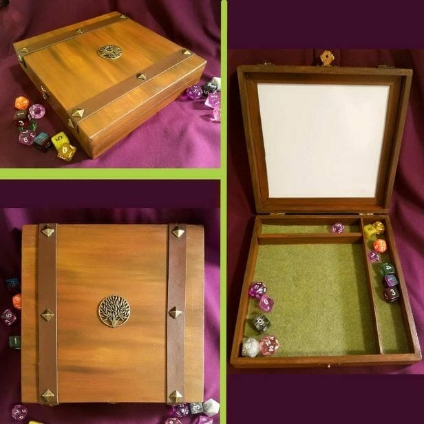 Custom Dice Trays for RPGS - custom dice tray for dnd - dungeons and dragons - custom dice rolling tray - customized dice trays - personalized custom dice trays for tabletop games and board gamers - hand painted wooden dice box dry erase dice tray box