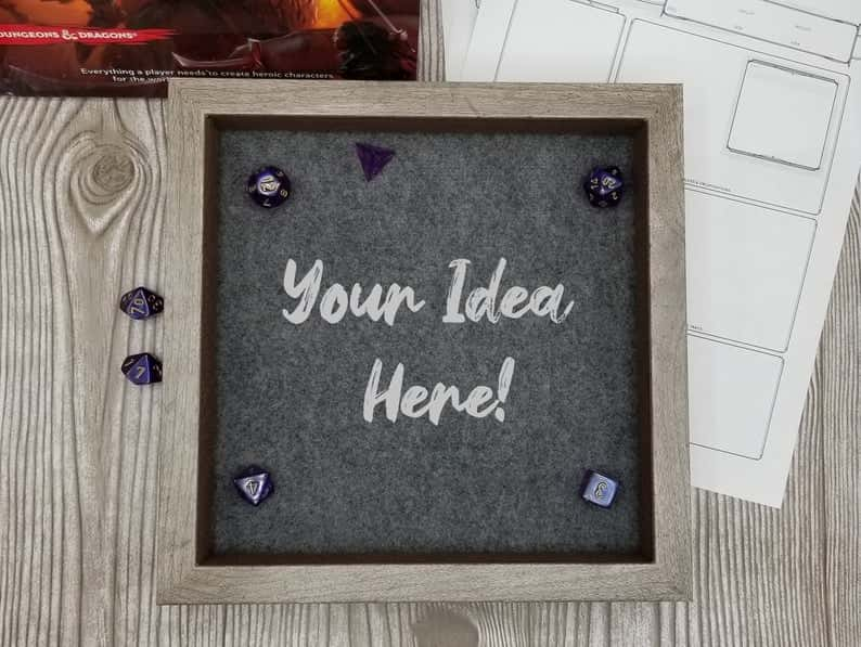Custom Dice Trays for RPGS - custom dice tray for dnd - dungeons and dragons - custom dice rolling tray - customized dice trays - personalized custom dice trays for tabletop games and board gamers - personalized dice tray with font