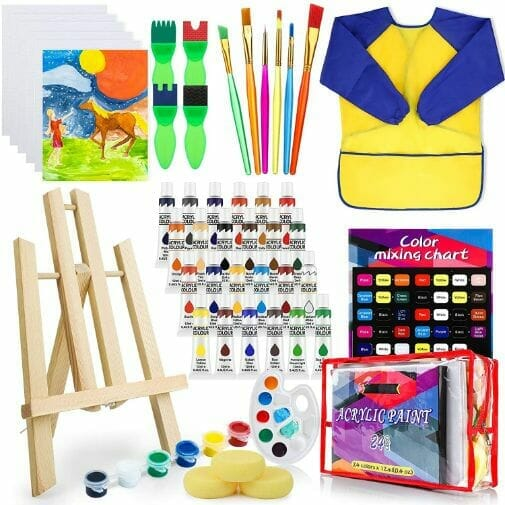 Best paint sets for kids – paint set for kids – acrylic paint set – paint for kids – acrylic paint for kids – deluxe paint set for kids review – hobby arts and crafts - included materials in the set