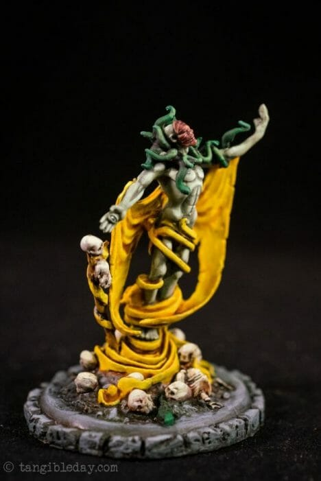 How to paint yellow models – shading yellow miniatures – painting yellow miniatures – painting board game miniatures – Cthulhu wars painting – Petersen Games - how to shade yellow minis – how to paint yellow minis and models – quick yellow painting – best yellow paint - studio shot image