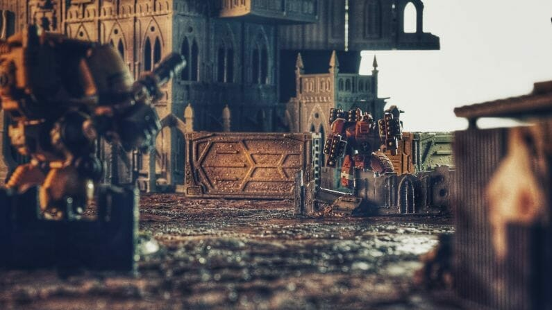 Pros and Cons of a Lightbox - How to Take Better Miniature Photos Without a Lightbox - Tips for Taking Better Pictures of Miniatures and Minis Without a Photobox studio - tips for hobby photography - miniature photography - Tau broadside battlesuit encounter
