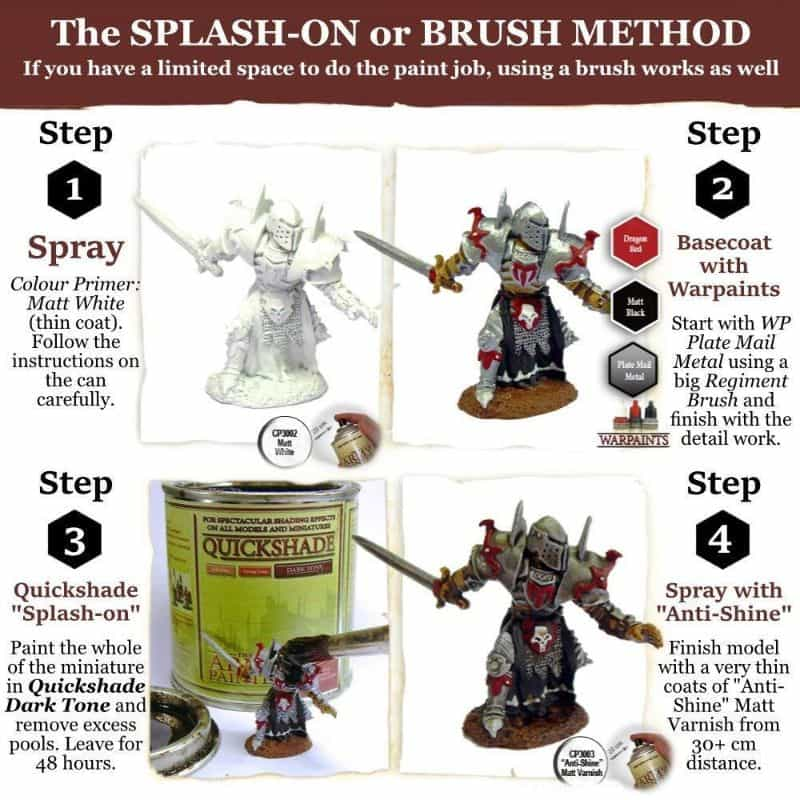 """Guide for """"Dipping"""" Miniatures to Speed Paint (Army Painter Quickshade Review) - Minwax Polyshades miniatures – Army Painter Quick Shade Alternatives – minwax polyshades for miniature painting - army painter quickshade review - army painter strong tone wash - brush on method for quickshade - splash-on"""