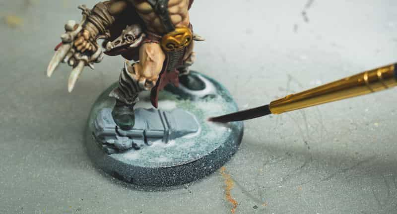 Basing Miniatures with Sand (Quick Method) - how to base miniatures with sand - sand basing models - realistic bases for miniatures - applying glue to base of model