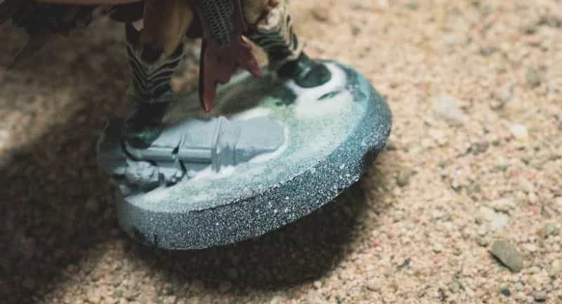 Basing Miniatures with Sand (Quick Method) - how to base miniatures with sand - sand basing models - realistic bases for miniatures - dipping miniature base into sand flock material