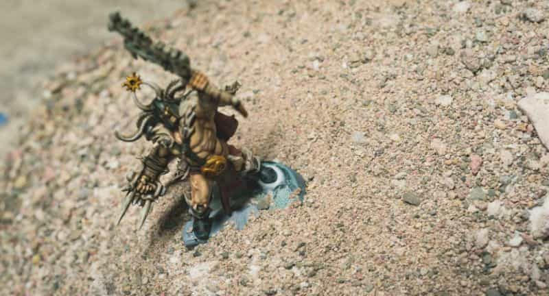 Basing Miniatures with Sand (Quick Method) - how to base miniatures with sand - sand basing models - realistic bases for miniatures - sinking miniature