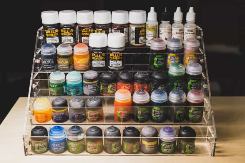 JKB Concepts Paint Organizer and Brush Holder Review - Acrylic hobby organizer and rack for paints and brushes - paint variety