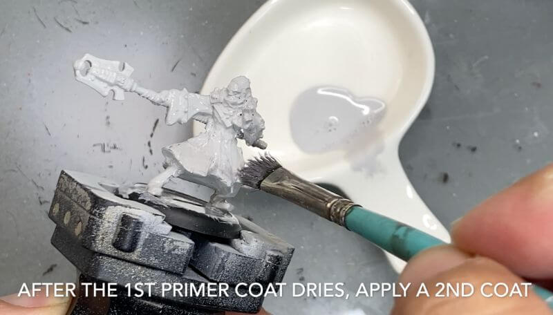 Brush on primer for miniatures how to - how to use brush on surface primer for models - priming miniatures and models with a brush - tutorial for brushing on primer for miniatures without losing detail - primer coat two