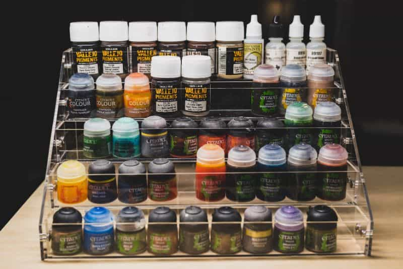 JKB Concepts Paint Organizer and Brush Holder Review - Acrylic hobby organizer and rack for paints and brushes - filled rack