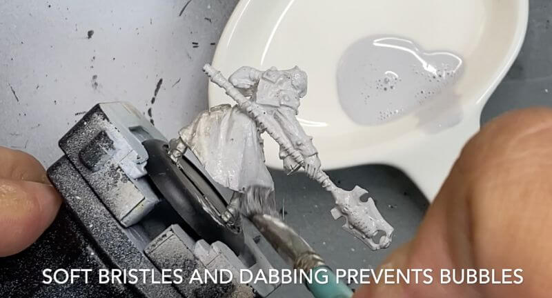 Brush on primer for miniatures how to - how to use brush on surface primer for models - priming miniatures and models with a brush - tutorial for brushing on primer for miniatures without losing detail - soft bristles work best