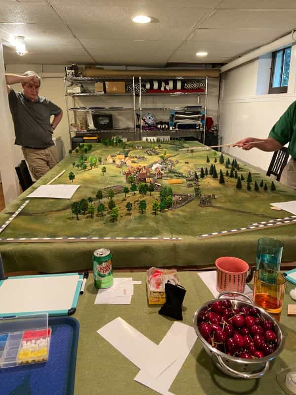 Best historical wargame for tabletop gamers - Carnage and Glory II miniature tabletop wargame - tactical miniature wargaming - best historical miniature wargame - Carnage and Glory Gameplay Review - gameplay table cherries