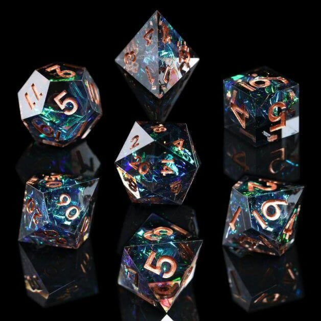 The Best D&D Dice Sets for Every Budget: 15 Cool Dice for RPGs - cool dnd dice - d20 dice for RPGs - best dice for D&D - dice for dungeons and dragons - iridescent dice