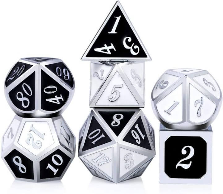 The Best D&D Dice Sets for Every Budget: 15 Cool Dice for RPGs - cool dnd dice - d20 dice for RPGs - best dice for D&D - dice for dungeons and dragons - metal design