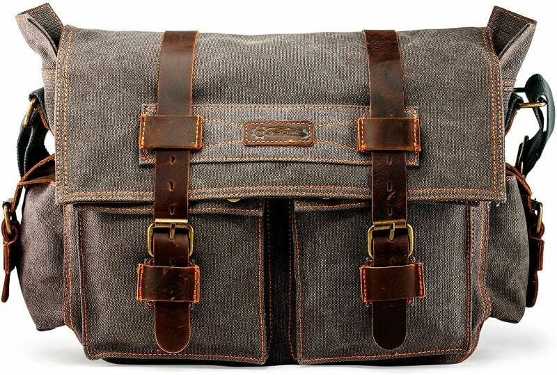 GEARONIC Canvas Leather Messenger Bag