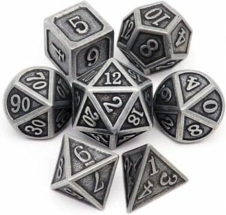 The Best D&D Dice Sets for Every Budget: 15 Cool Dice for RPGs - cool dnd dice - d20 dice for RPGs - best dice for D&D - dice for dungeons and dragons - metal dice example