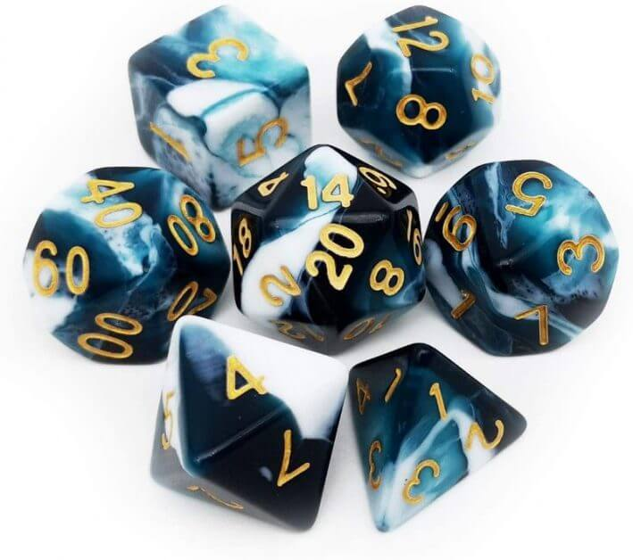 The Best D&D Dice Sets for Every Budget: 15 Cool Dice for RPGs - cool dnd dice - d20 dice for RPGs - best dice for D&D - dice for dungeons and dragons - swirly ocean dice