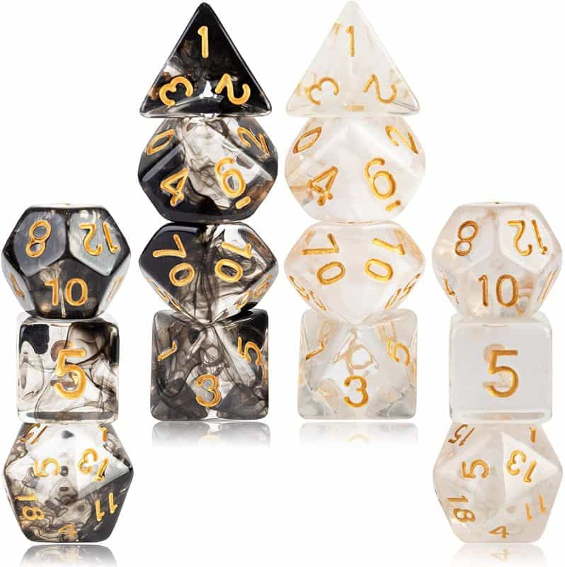 The Best D&D Dice Sets for Every Budget: 15 Cool Dice for RPGs - cool dnd dice - d20 dice for RPGs - best dice for D&D - dice for dungeons and dragons - black and white plastic dice