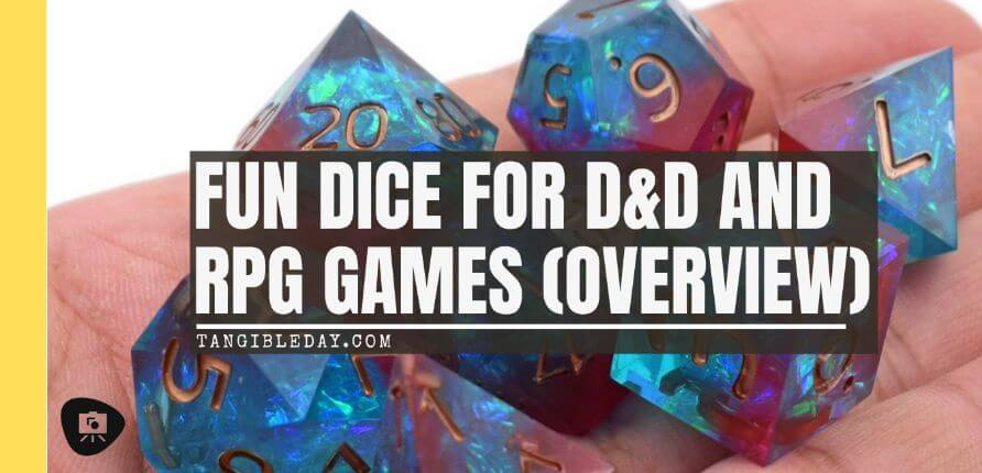 The Best D&D Dice Sets for Every Budget: 15 Cool Dice for RPGs - cool dnd dice - d20 dice for RPGs - best dice for D&D - dice for dungeons and dragons - banner