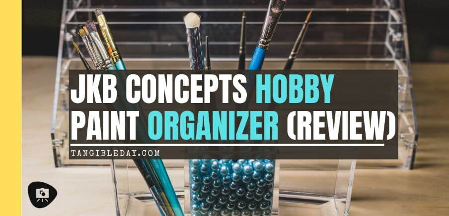 JKB Concepts Paint Organizer and Brush Holder Review - Acrylic hobby organizer and rack for paints and brushes - support beads and trays - banner