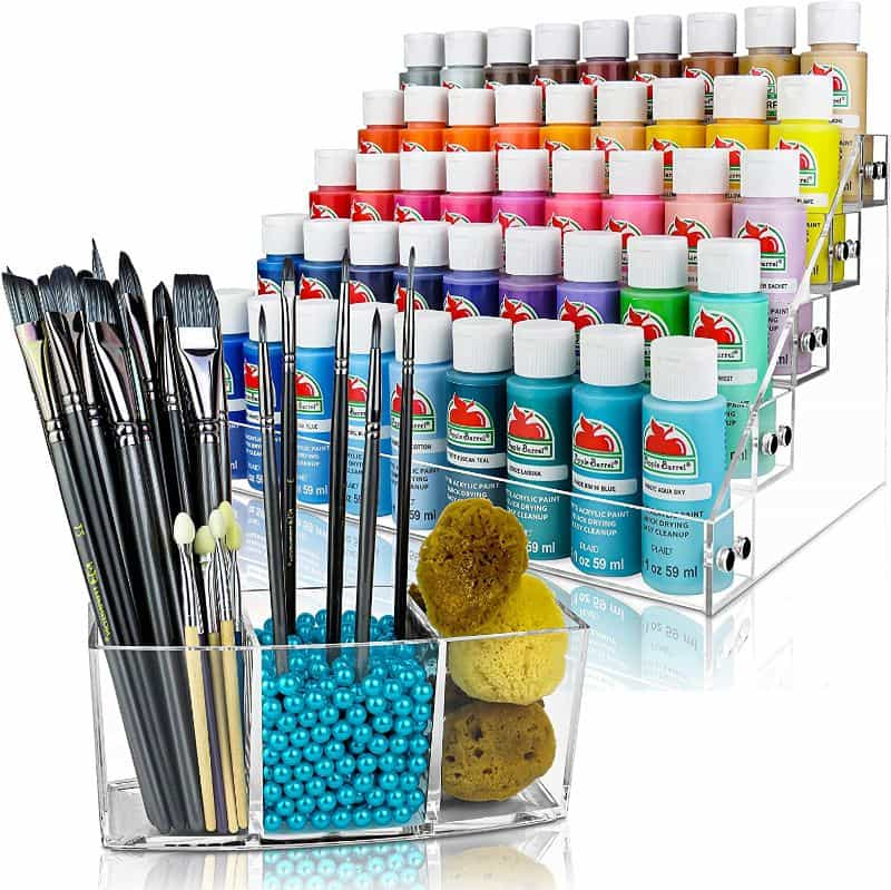 JKB Concepts Paint Organizer and Brush Holder Review - Acrylic hobby organizer and rack for paints and brushes - JKB Concepts product photo