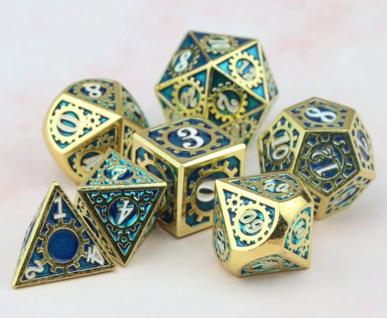 The Best D&D Dice Sets for Every Budget: 15 Cool Dice for RPGs - cool dnd dice - d20 dice for RPGs - best dice for D&D - dice for dungeons and dragons - metal steampunk dice