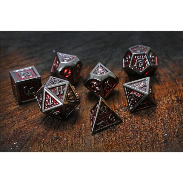 Best Metal Dice Sets? Forged Gaming Dice Sets for DnD and RPGs (Review) - metal dice set review - red dragon scale dice set