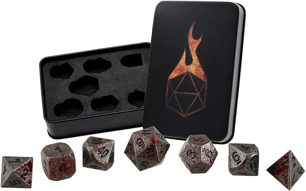 Best Metal Dice Sets? Forged Gaming Dice Sets for DnD and RPGs (Review) - metal dice set review - dark metal dice bloody
